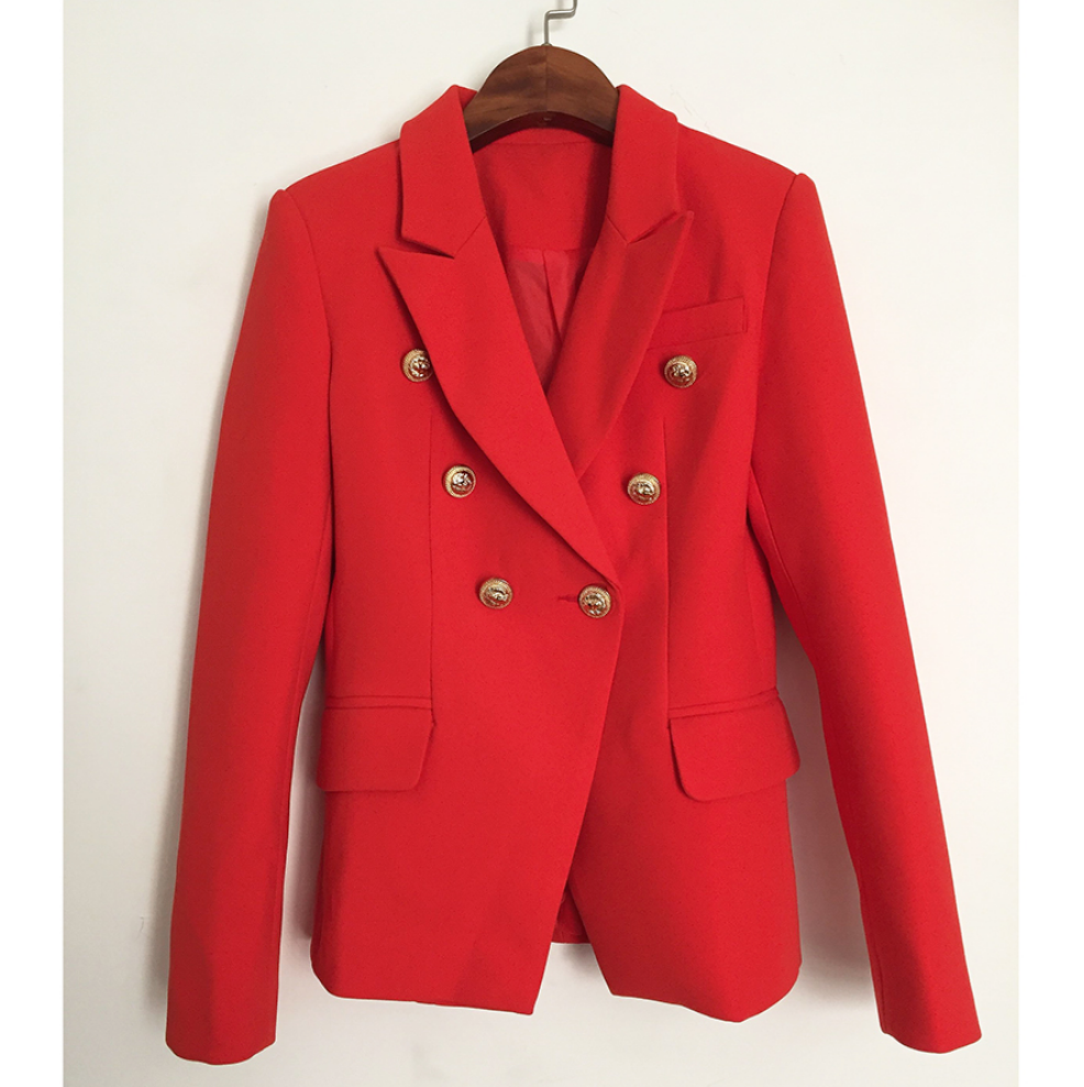 Bright Red Famous Blazer - Red Blazer Gold Buttons