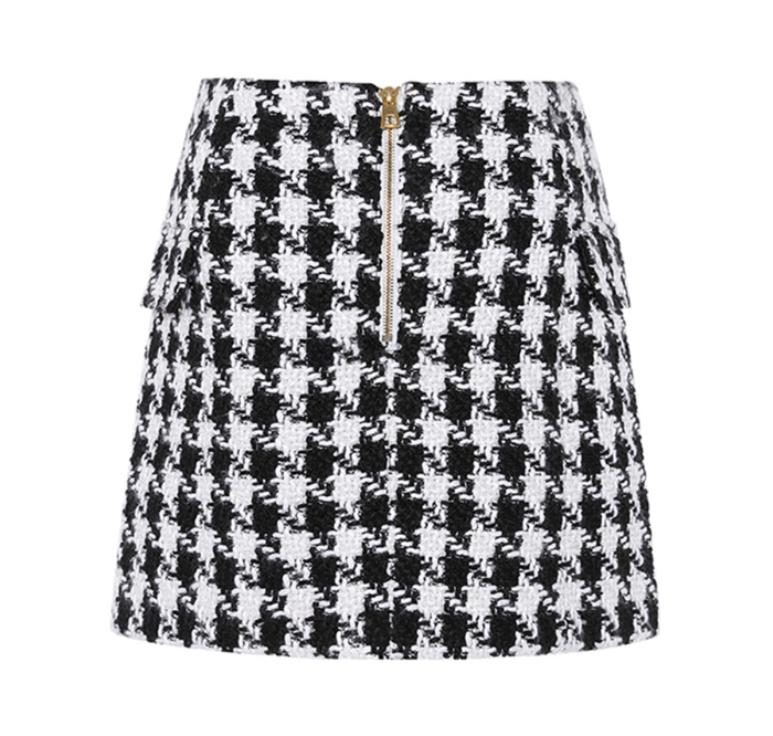 Famous Tweed Skirt - Black and White Classic with Gold Buttons