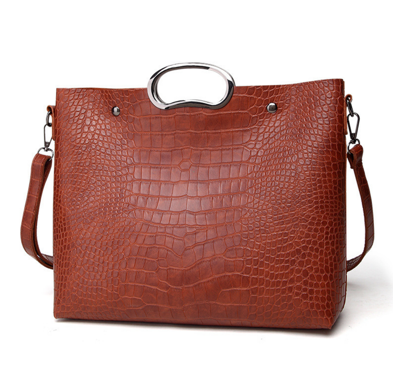 Classic Crocodile Handbag Set - Purse, Tote and Clutch - 4 Colors