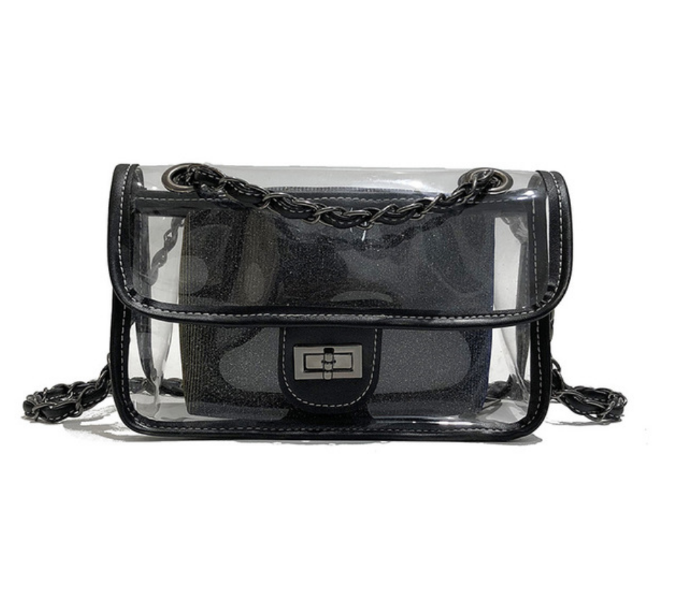 Transparent Cross Over 'Black on Black' Chic Handbag