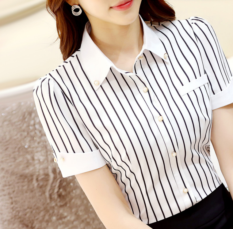 Striped Pearls Woman's Collared Shirt