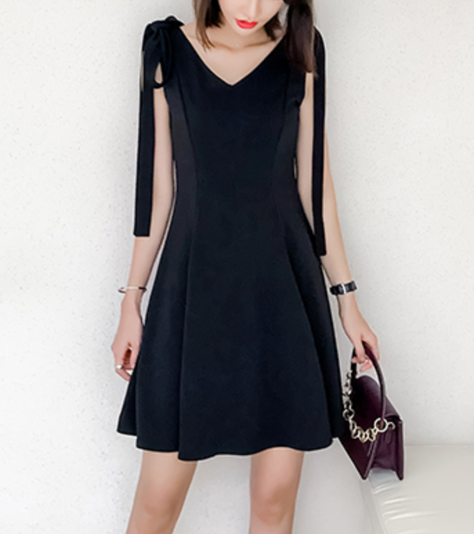 Little Black Dress - Bow Tie Shoulder