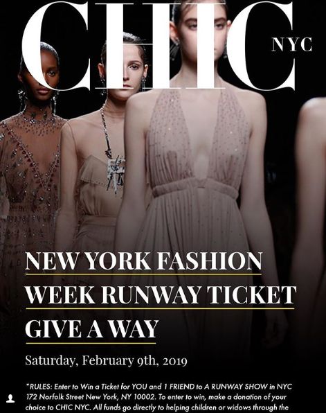 WIN New York Fashion Week Runway Tickets for 2 - Donation only - Winner Announced February 1st, 2019