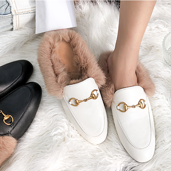 CHIC NYC Ladies Fur Slippers