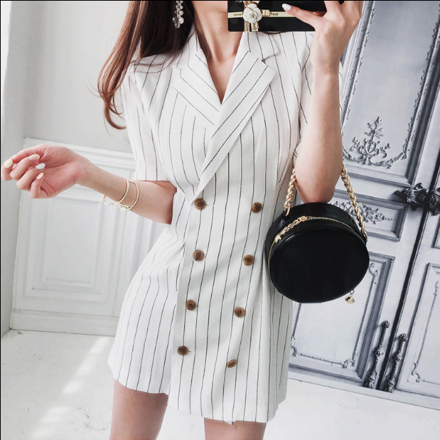CHIC NYC Long Striped Slim Shirt Dress