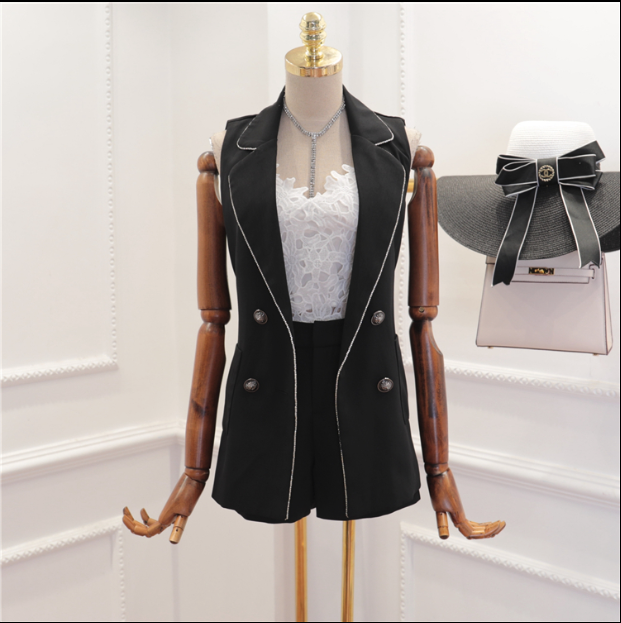 CHIC NYC Diamond Edge Lapel Vest Suit Jacket + High Waist Shorts