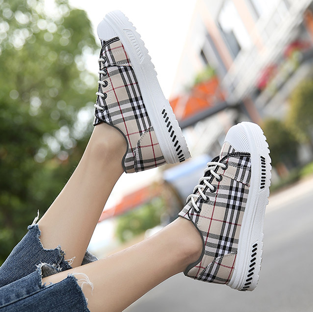 CHIC NYC Breathable Plaid Tennis Shoes - Tan or Black
