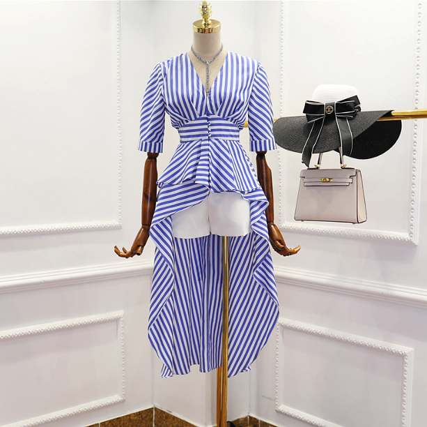 CHIC NYC V Neck Striped Irregular Dress