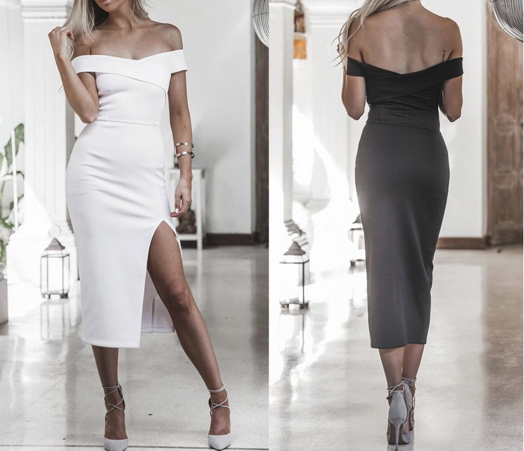 CHIC NYC Slashed & Off Shoulder Dress