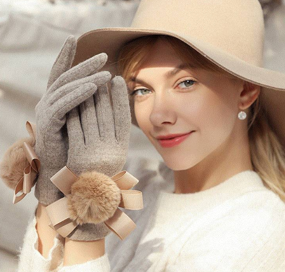 CHIC NYC Ladies Velvet Wool Gloves