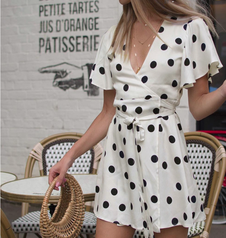 CHIC NYC Dot Fabric & Short Sleeved Dress