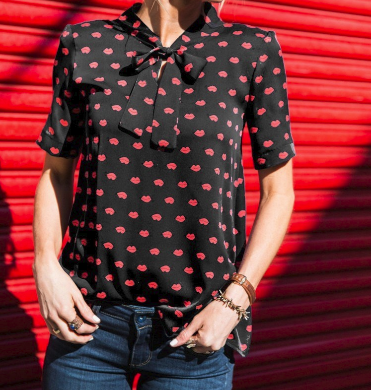 CHIC NYC Short Sleeve Blouse Shirt