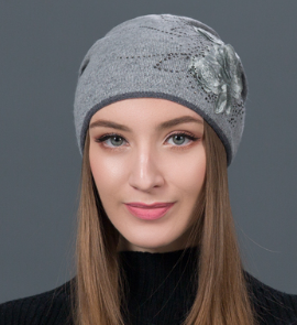 CHIC NYC Ladies Flower Embroidered  Wool Hat