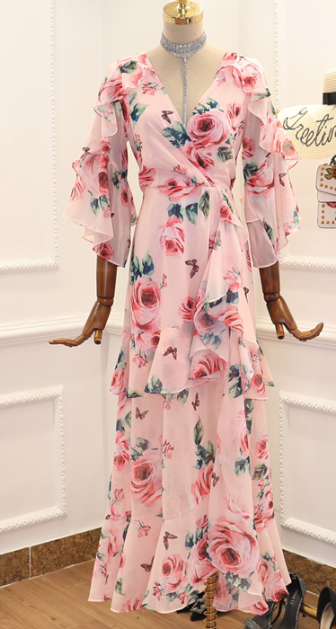 CHIC NYC Printed Chiffon Ruffled Long Dress