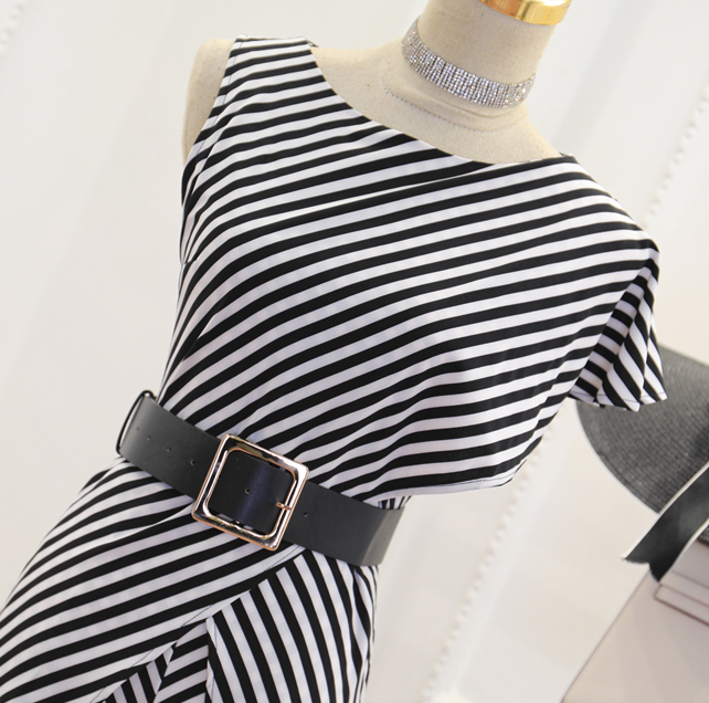 CHIC NYC Irregular Stripes One-Shoulder Jumpsuit Ruffled Waist