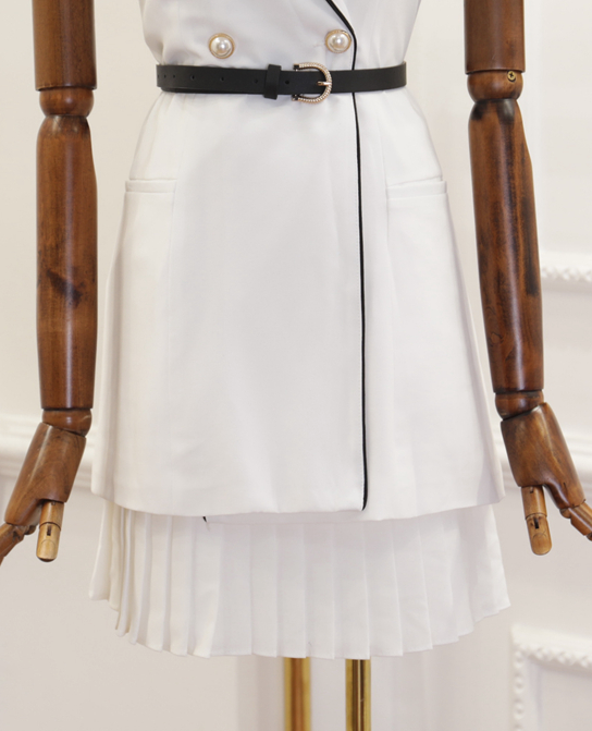 CHIC NYC Sleeveless Knit Button Top + Pleated Skirt