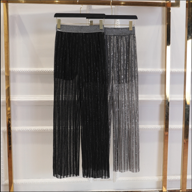 CHIC NYC Fire Sequins Elastic Wild Wide Leg Pants