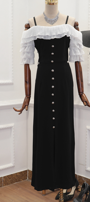 CHIC NYC Ruffled Shoulder & Waist Buckle Long Dress