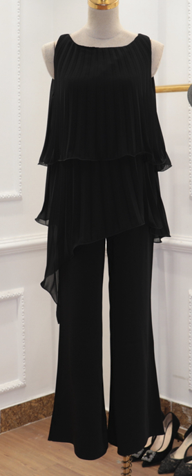 CHIC NYC Irregular Pleated Top + Comfortable Wide Leg Pants