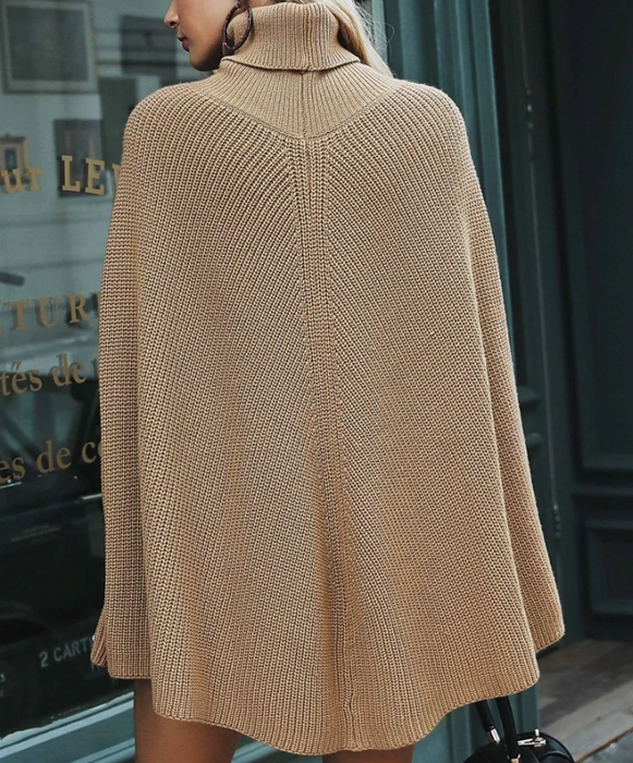 CHIC NYC Knitted Turtleneck Cloak Sweater