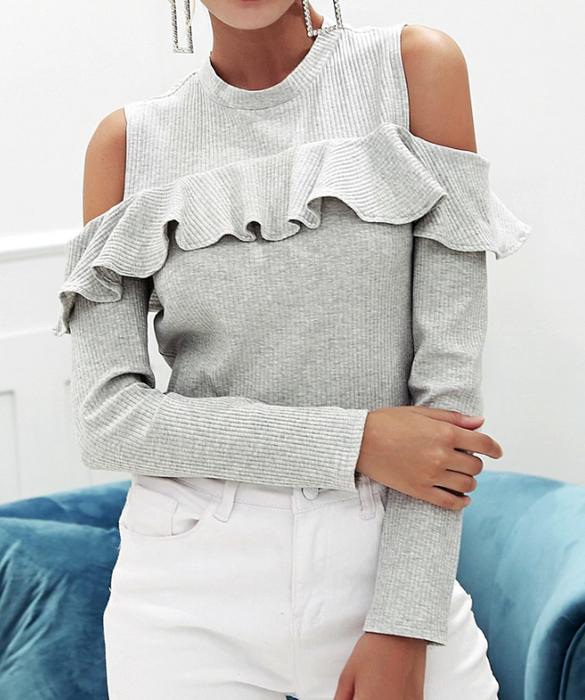 CHIC NYC Cold Shoulder Ruffled & Long Sleeve Sweater