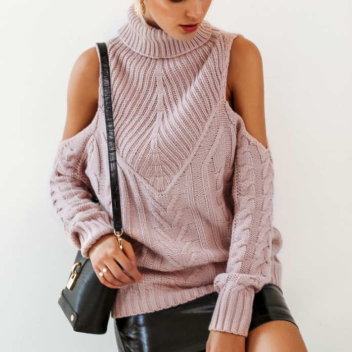 CHIC NYC Cold Shoulder Long Sleeve Sweater