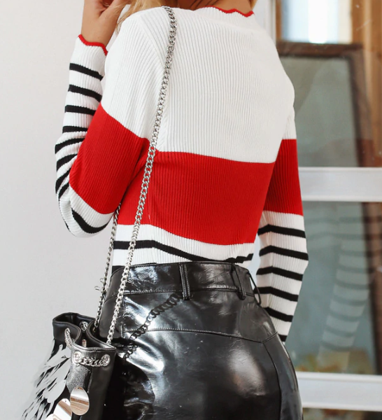 CHIC NYC O Neck Striped & Ruffled Sweater