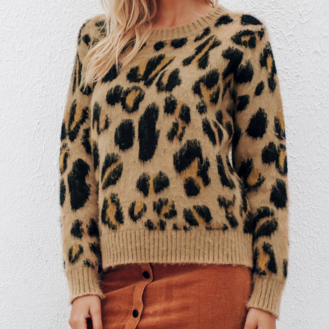 CHIC NYC Leopard Knitted Winter Sweater
