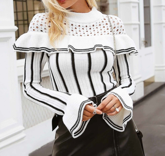 CHIC NYC Stripe & Flare Sleeved Knitted Sweater