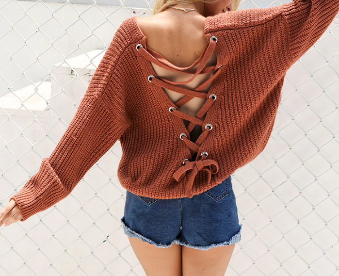 CHIC NYC Backless Knitting Sweater