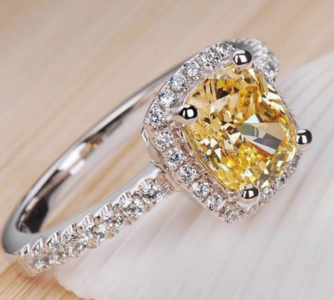 Chic NYC 925 Sterling Silver 2 Carat Yellow Stone Luxury Ring