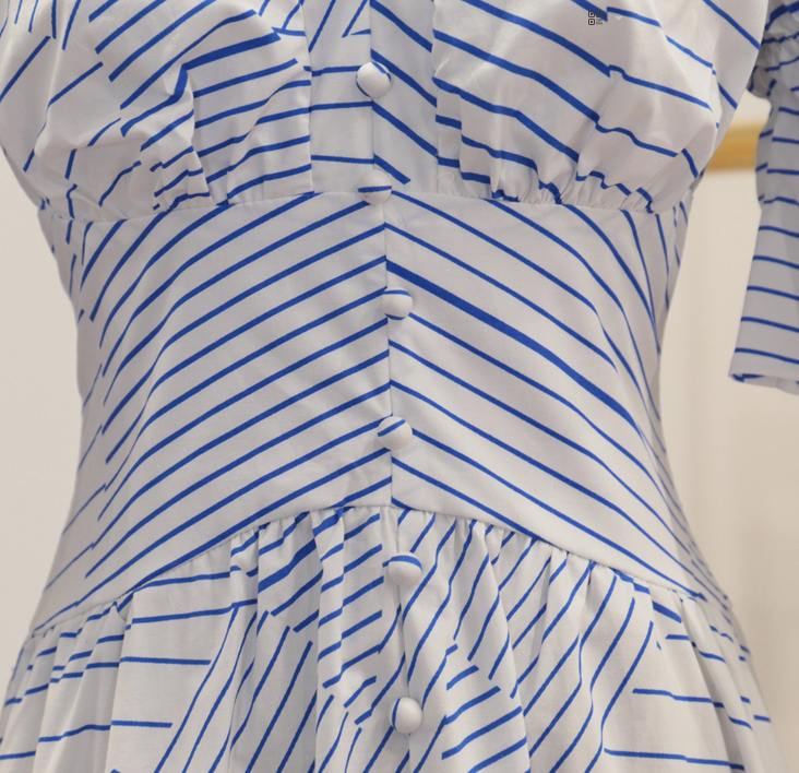 CHIC NYC V-neck Striped Horn Sleeve Dress