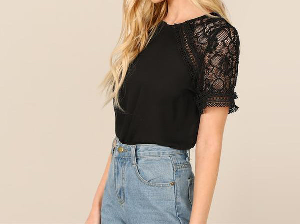 CHIC NYC Runway Elegant Black Contrast Lace Sleeve Blouse