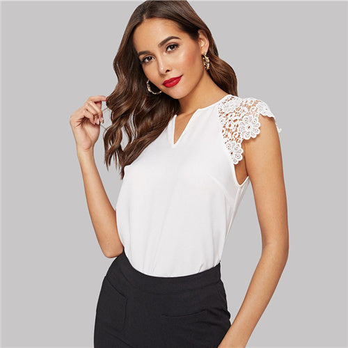 CHIC NYC Runway Elegant White Hollowed Out Guipure Lace Sleeve Blouse