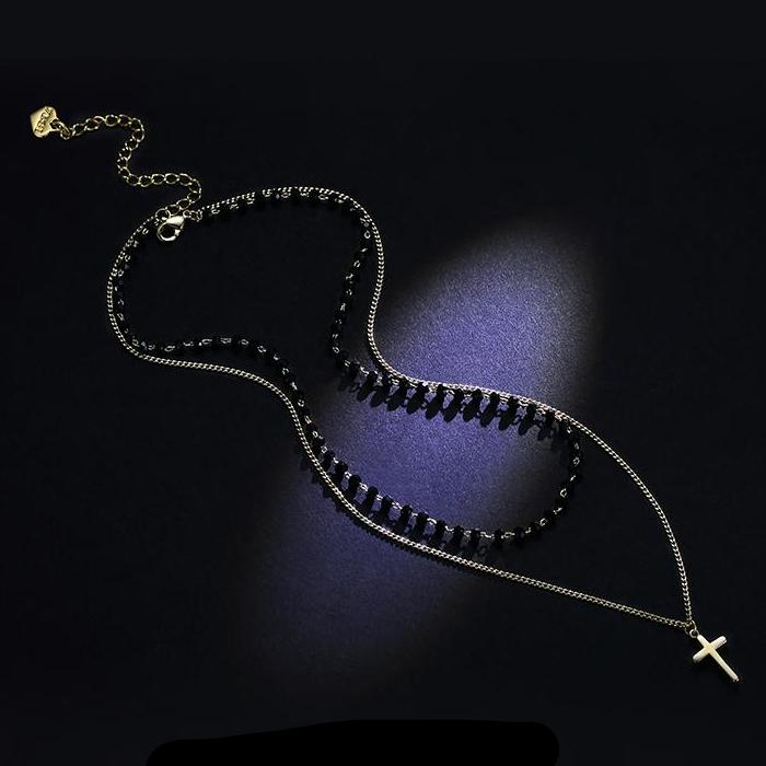 CHIC NYC Girl Double Necklace Female Chain Simple Cross Pendant