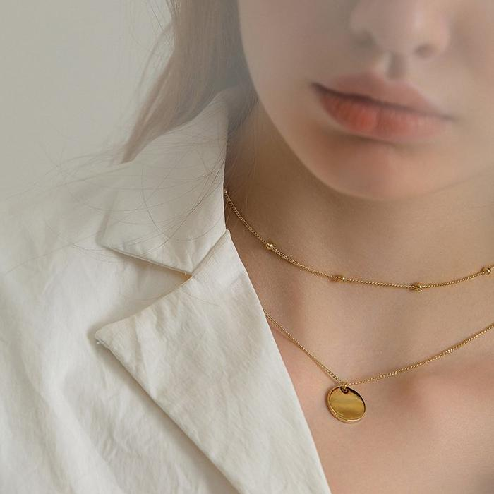 CHIC NYC Double-Layer Steel Necklace Female Clavicle Chain Simple Round Coin Pendant