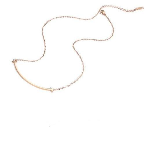 CHIC NYC Smile Face Necklace Chain Short Smile Pendant Plating 18K Rose Gold Plated