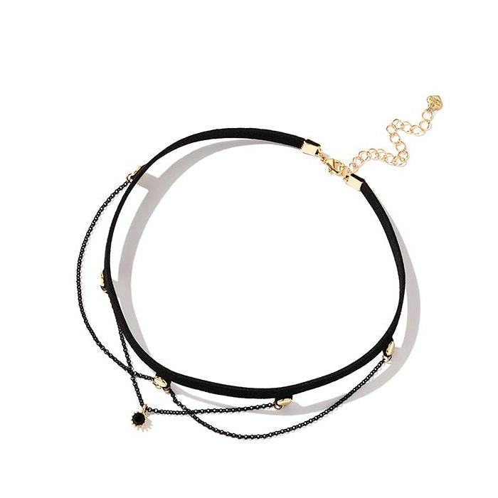 CHIC NYC Short Neckband Sweater Accessories Necklace Pendant Black Choker