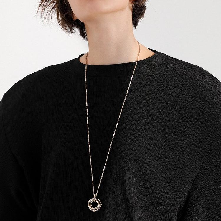 CHIC NYC High Collar Sweater Chain Female Long Paragraph Exquisite Simple Pendant
