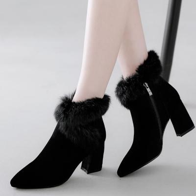 CHIC NYC High Heel Ankle Boots With Fur