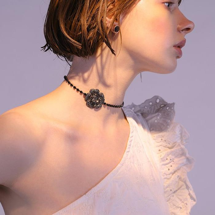 CHIC NYC Black Diamond Rose Choker Collar