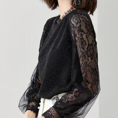 CHIC NYC Bright Silk Lantern Sleeve Shirt