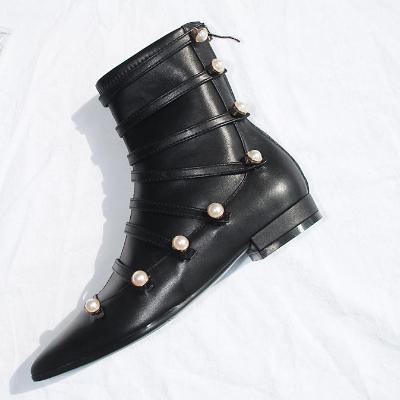 CHIC NYC Flat Leather Ankle Boots With Faux Pearls
