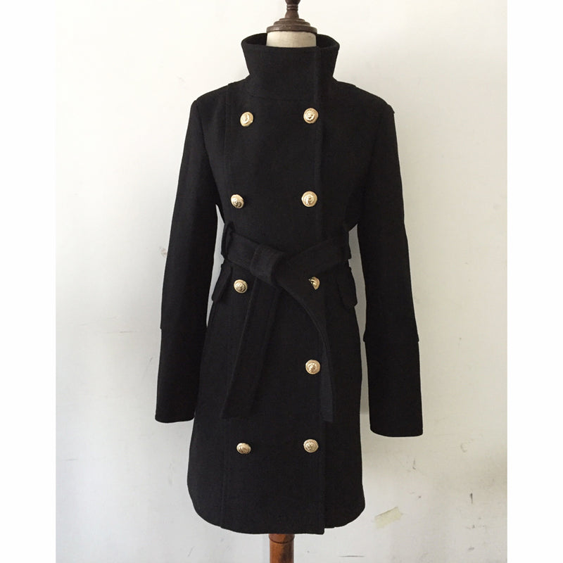 CHIC NYC Runway 2019 Baroque Designer Coat Women's Double Breasted Lion Buttons Turtleneck Lacing Belt Wool Coat