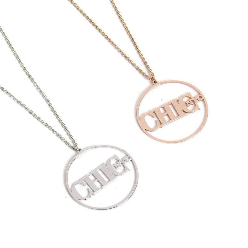 Chic NYC Vogue Inspired Pendant Necklace - Silver or Rose Gold Finish