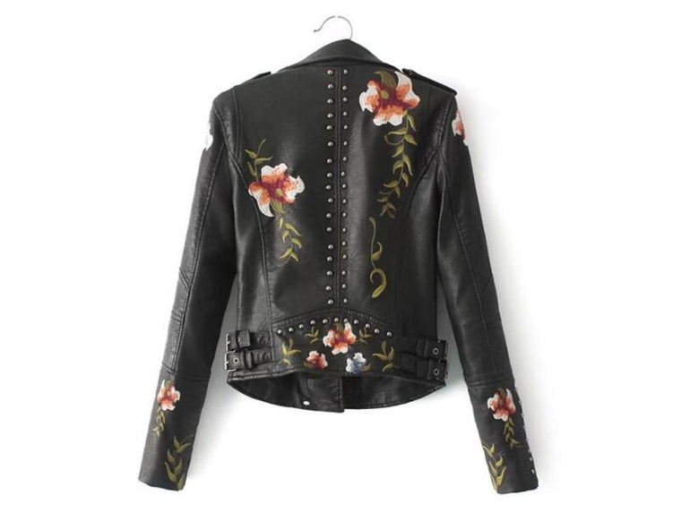 CHIC NYC Runway Floral Print Embroidery Soft Leather Jacket