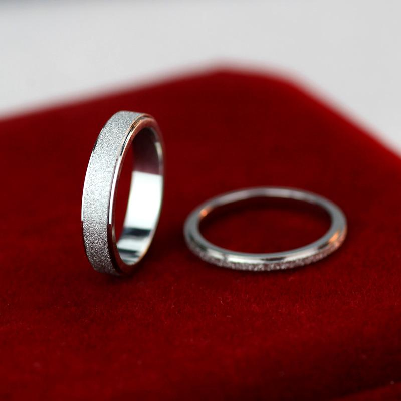 Silver Frosted Couple Wedding Rings Stainless Steel Silver Glitter