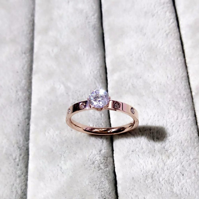 Designer Inspired Wedding Ring - Jewelry Brand Inspired Wedding Ring - Rose Gold Zircon Crystal Wedding Ring - Stainless Steel Wedding Ring