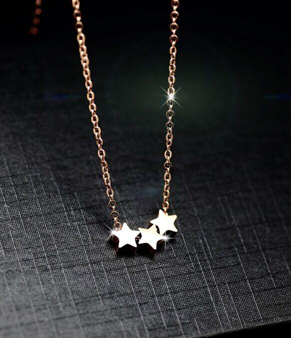Stainless Steel 3 Stars Rose Gold Pendant Necklace - Womans Stainless Steel Pendant Necklace