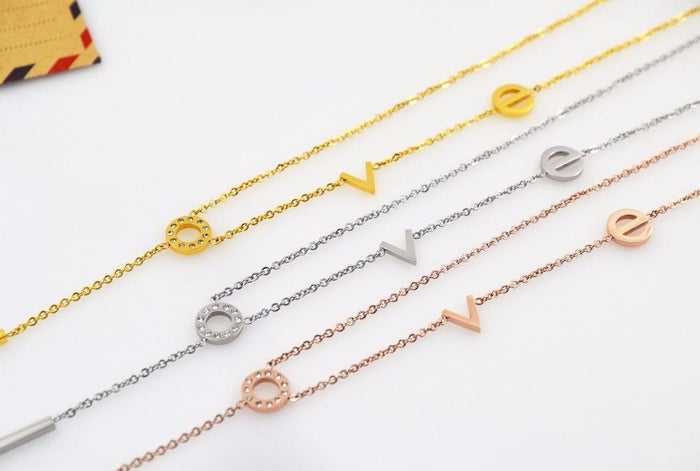 Designer Inspired LOVE Stainless Steel Jewelry - Delicate Stainless Steel Necklace - Zircon LOVE Pendant Necklace - Gold, Rose Gold or Silver Love Necklace